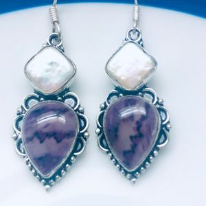 Sterling Silver Amethyst Earrings with Biwa Pearls